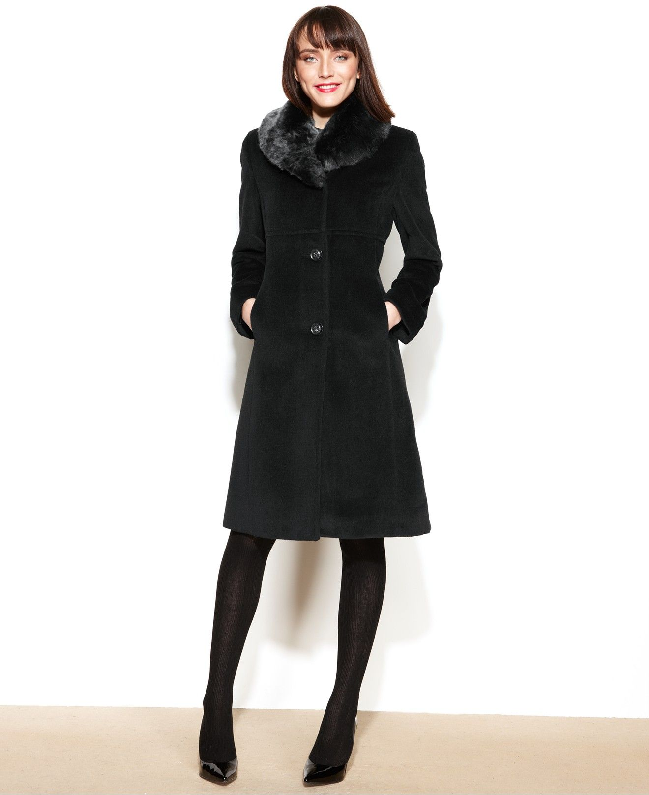 Jones New York Faux-Fur-Collar Walker Coat - Coats - Women ...