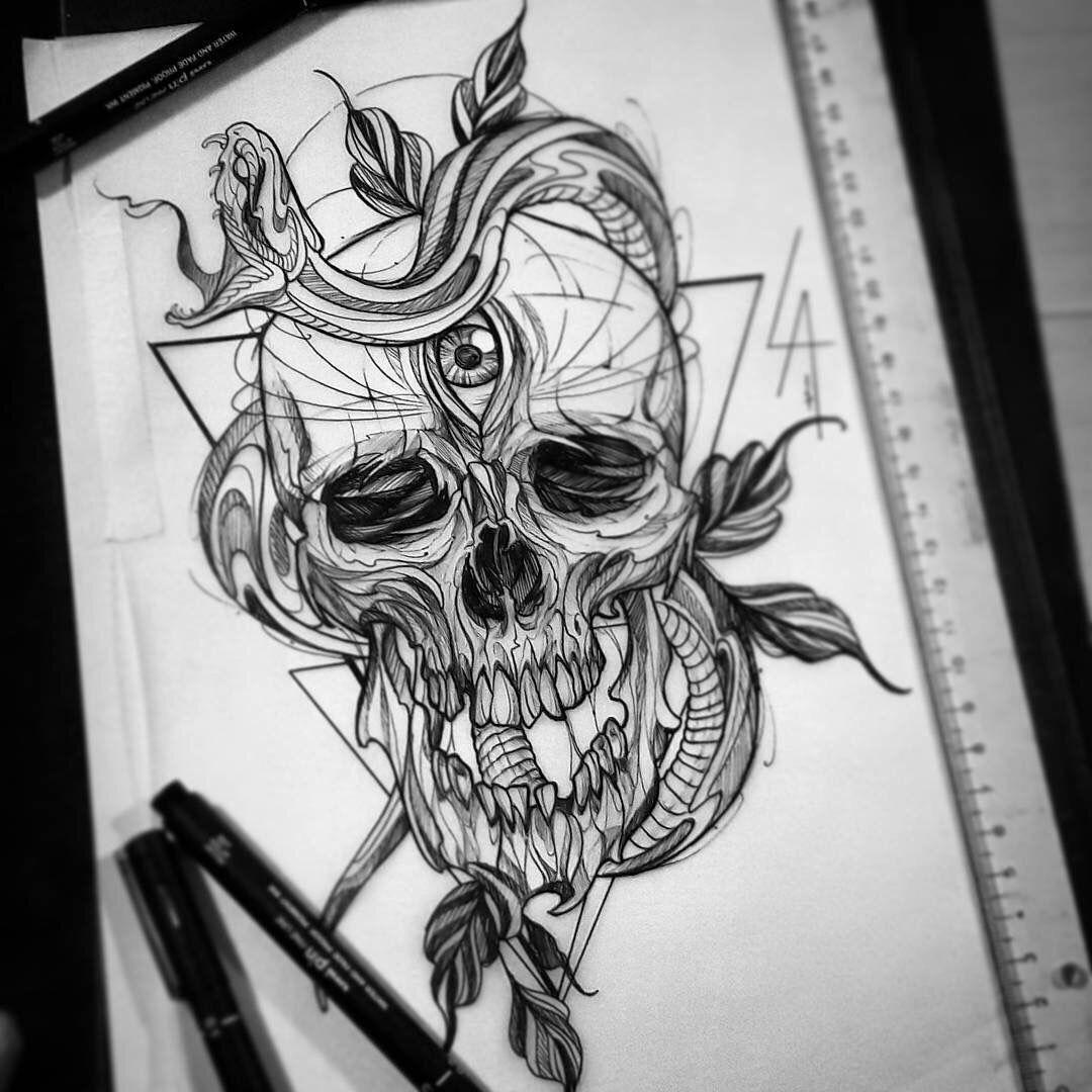 Tattoo Designs Skull: Third Eye Skull Snake