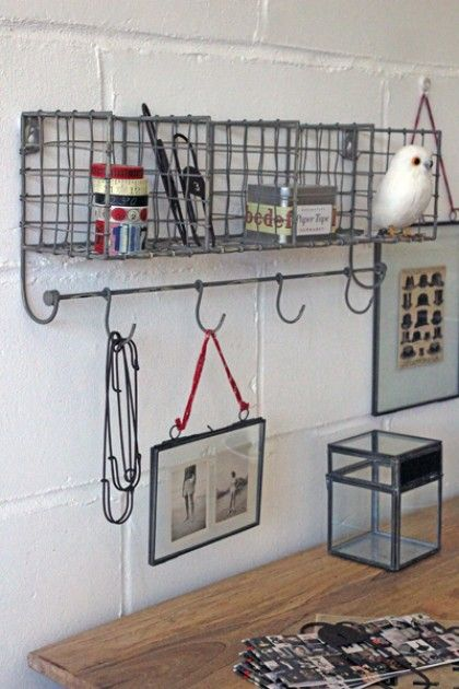 Lovely Distressed Metal Wall Storage With Hooks   Grey
