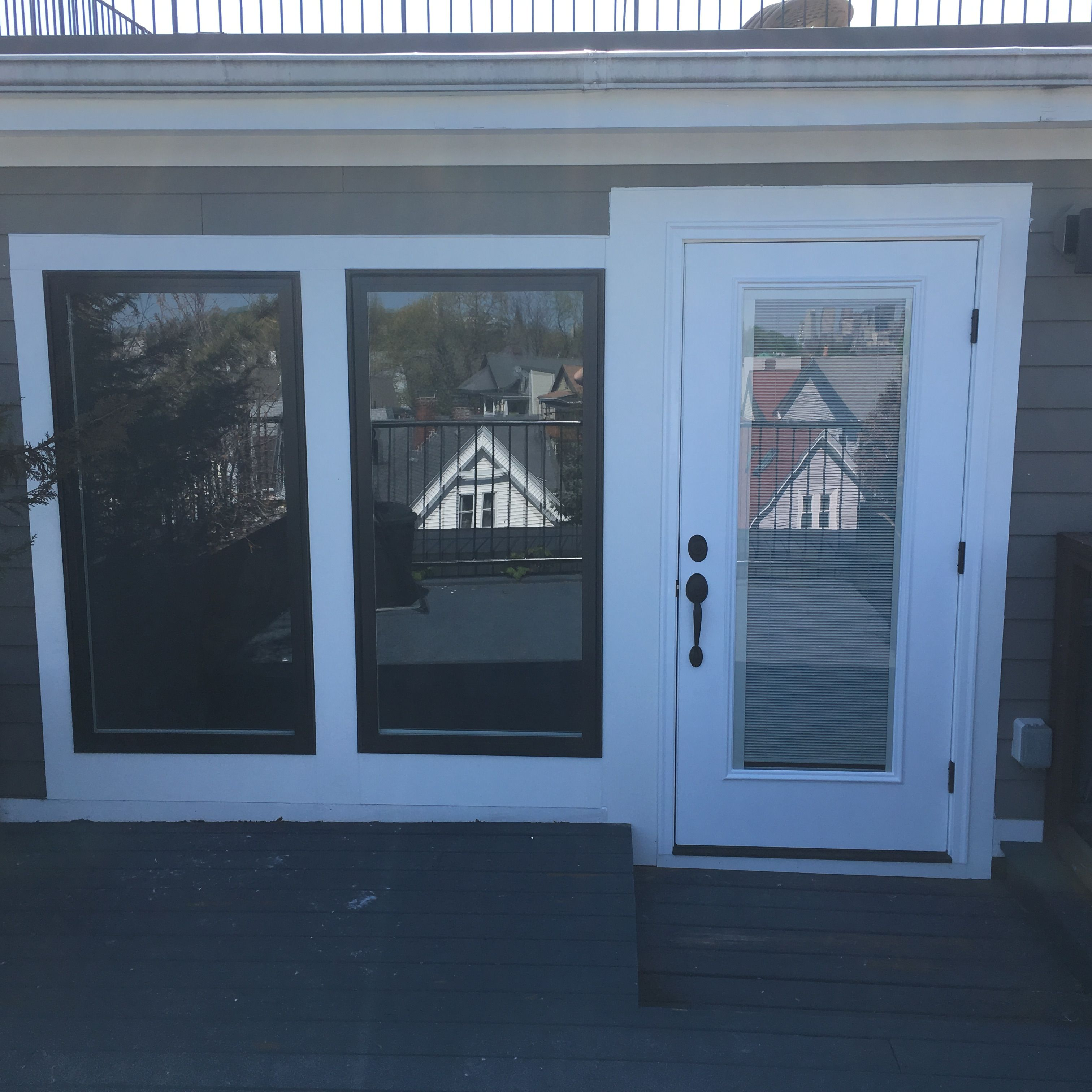 Gorgeous Therma-Tru Door w/ Internal Blinds & Two Large Pella ...