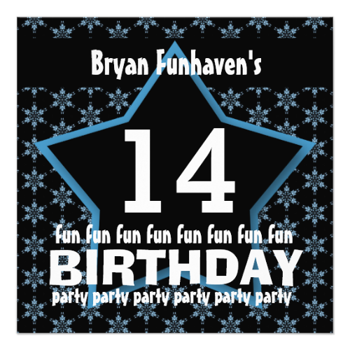14th Birthday Party or Any Year Fun STAR V14B Personalized AnnouncementsSee more:  Teen Birthday INVITATIONS: http://www.zazzle.com/jaclinart/gifts?cg=196319186511761985  Teen Birthday TEES: http://www.zazzle.com/jaclinart/gifts?ps=120&cg=196440535520435911