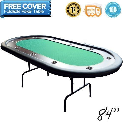 Deluxe Green 10 Player Foldable Casino Poker Table W Stainless Steel Cup Holders Poker Table Stainless Steel Cups Poker