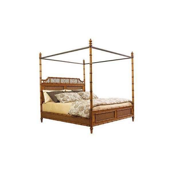 Tommy Bahama West Indies Bed - Twin (78.020 RUB) ❤ liked on Polyvore featuring home, furniture, beds, twin head board, king size head board, king headboard, king size post bed and king canopy bed