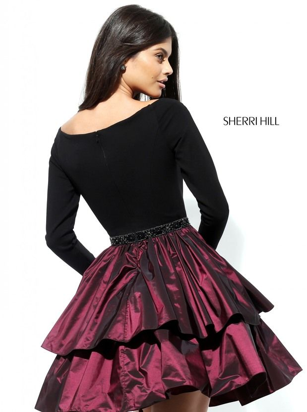 Wine Sherri Hill 50641 Tiered A Line Short Homecoming Dress 2016