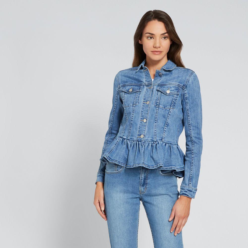 Ruffle Hem Denim Jacket Denim Jacket Women Fashion Denim Trends [ 1000 x 1000 Pixel ]