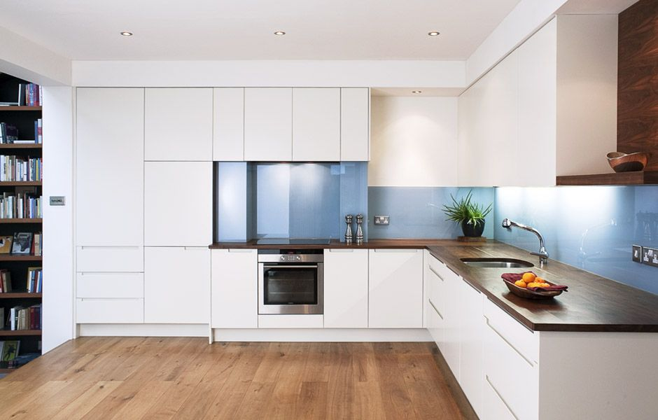 Walnut Worktop White Cupboards