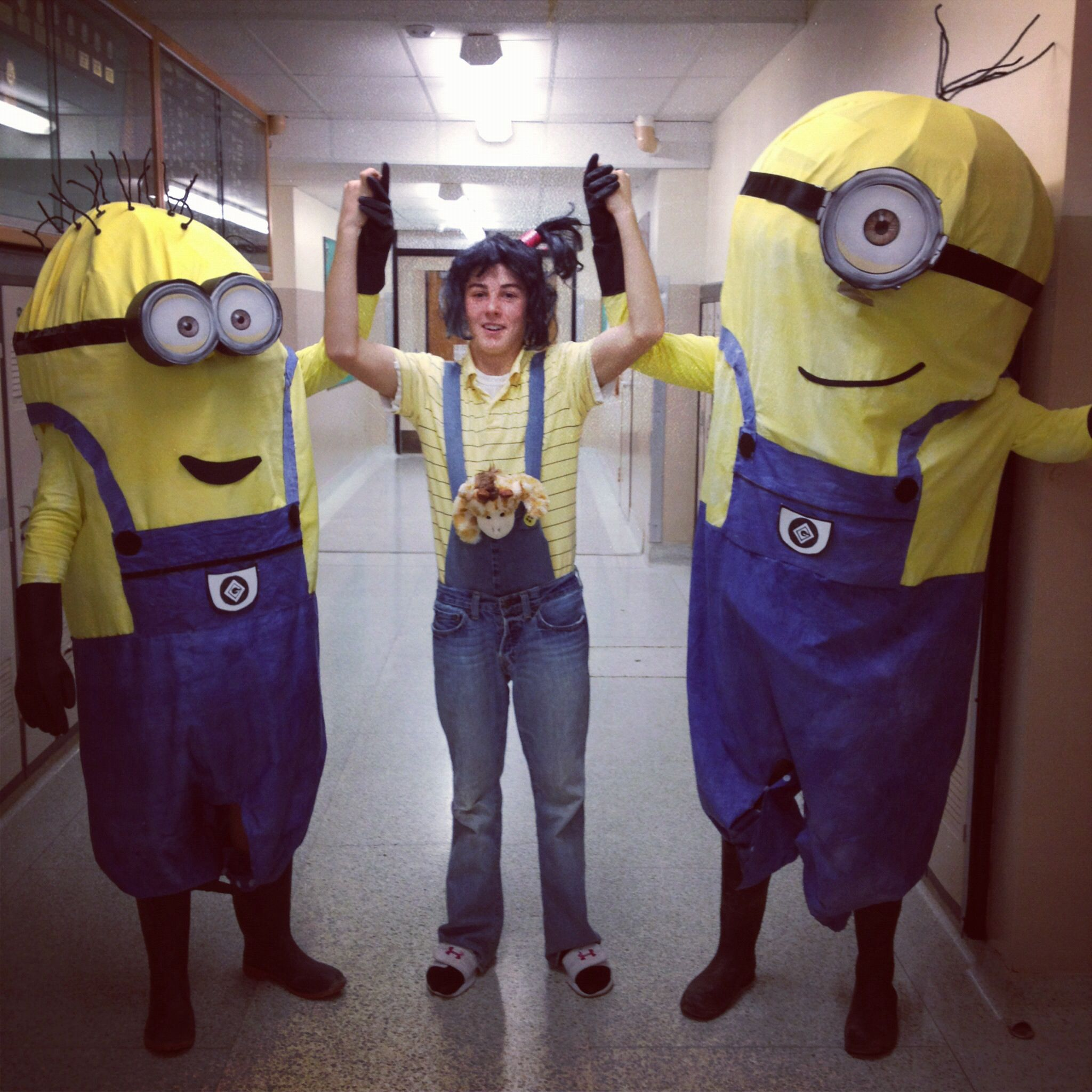 My cousins home made DIY despicable me Halloween costumes!  sc 1 st  Pinterest : minion costume for halloween  - Germanpascual.Com