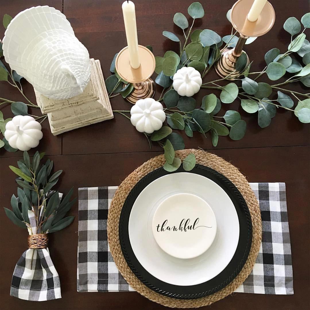 Buffalo Check Black White Year Round Home Decor Ideas White Home Decor Dining Table Decor Decor