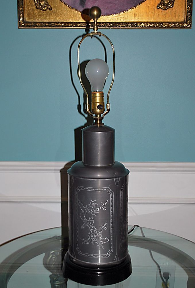 Mid-Century Wildwood Chinoiserie Ginger Jar Lamp Pewter Finish Over Cast Brass  #GingerJarChinoiserie