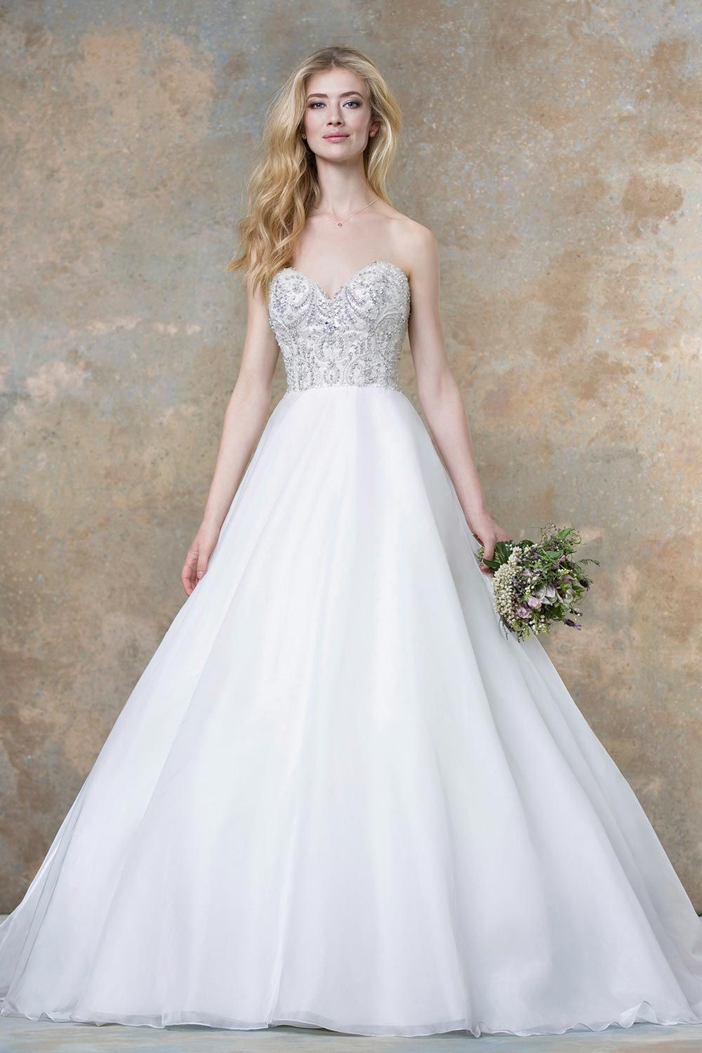 Traditional wedding dress with sparkly bodice from Ellis Bridals