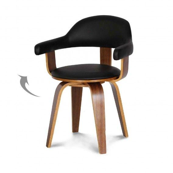 Chaise Design Suedoise Simili Cuir Noir Et Bois Massif Walnut Chaises Tables Chaises Meubles Chaise Suedoise Chaise Design Simili Cuir