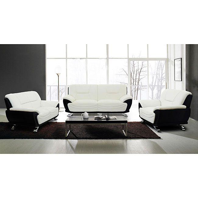 High Quality European Alicia White/ Black Modern Sofa Set   Overstock™ Shopping   Big  Discounts On Living Room Sets