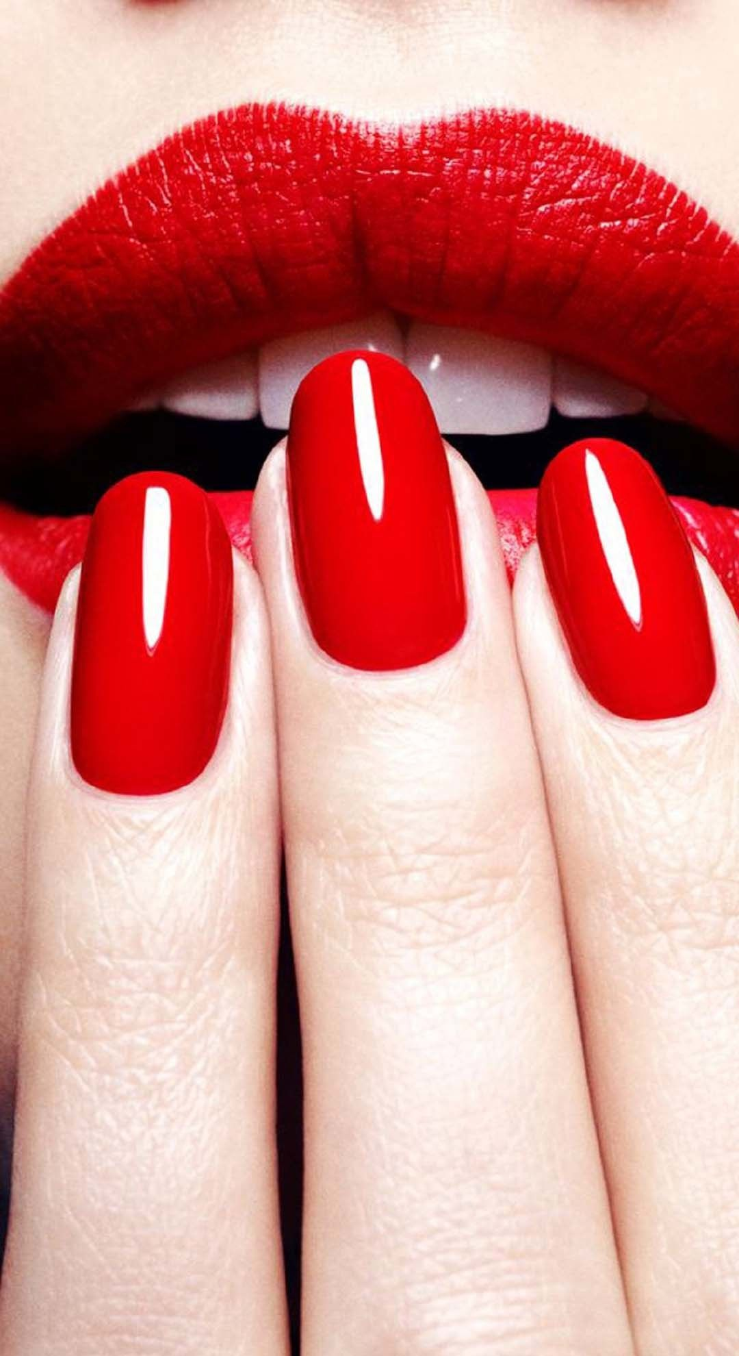 Nails Wallpaper 1080x1980 For Iphone 5s Red Nails Glitter Lips