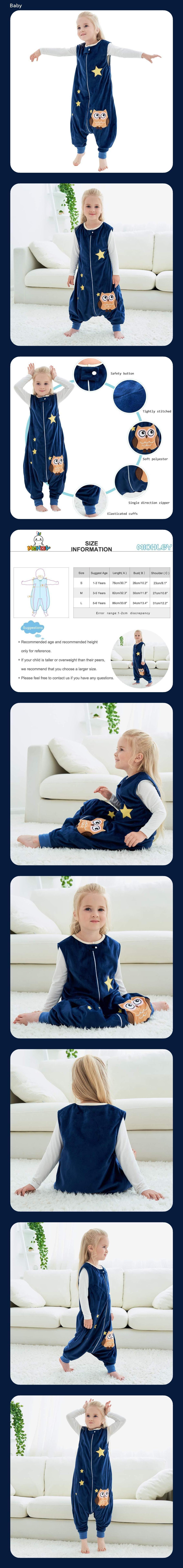 MICHLEY baby schlafsack mit F/ü/ßen m/ädchen und Junge Schlummersack mit Beinen Vierjahreszeiten,Blau 1-3 Jahre