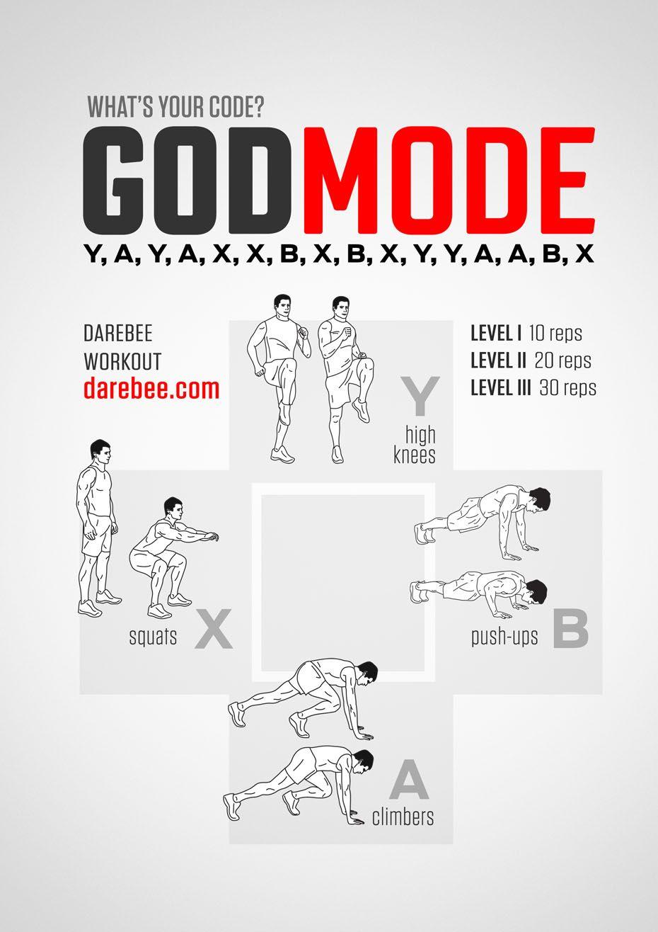 GodMode Workout   Exercise   Workout, Home workout men, Hiit
