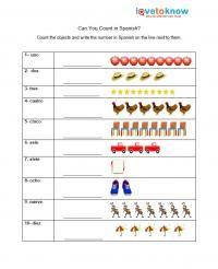 Free Spanish Worksheets for Kindergarten Spanish