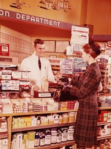 Photographic Print: Woman at Pharmacy Counter Talk