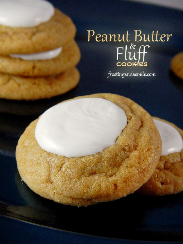 Peanut Butter and Fluff Cookies Soft peanut butter cookies topped with marshmallow fluff.  #fluffernutter #marshmallowflufffrosting