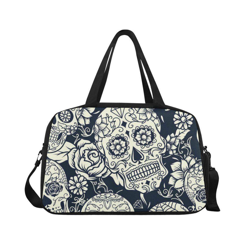 InterestPrint Large Duffel Bag Flight Bag Gym Bag Sugar Skull Dia De Los Muertos