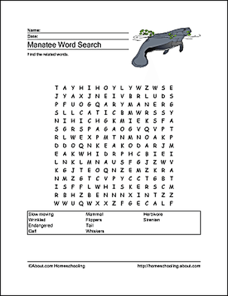 Manatee Wordsearch Vocabulary Crossword And More Manati