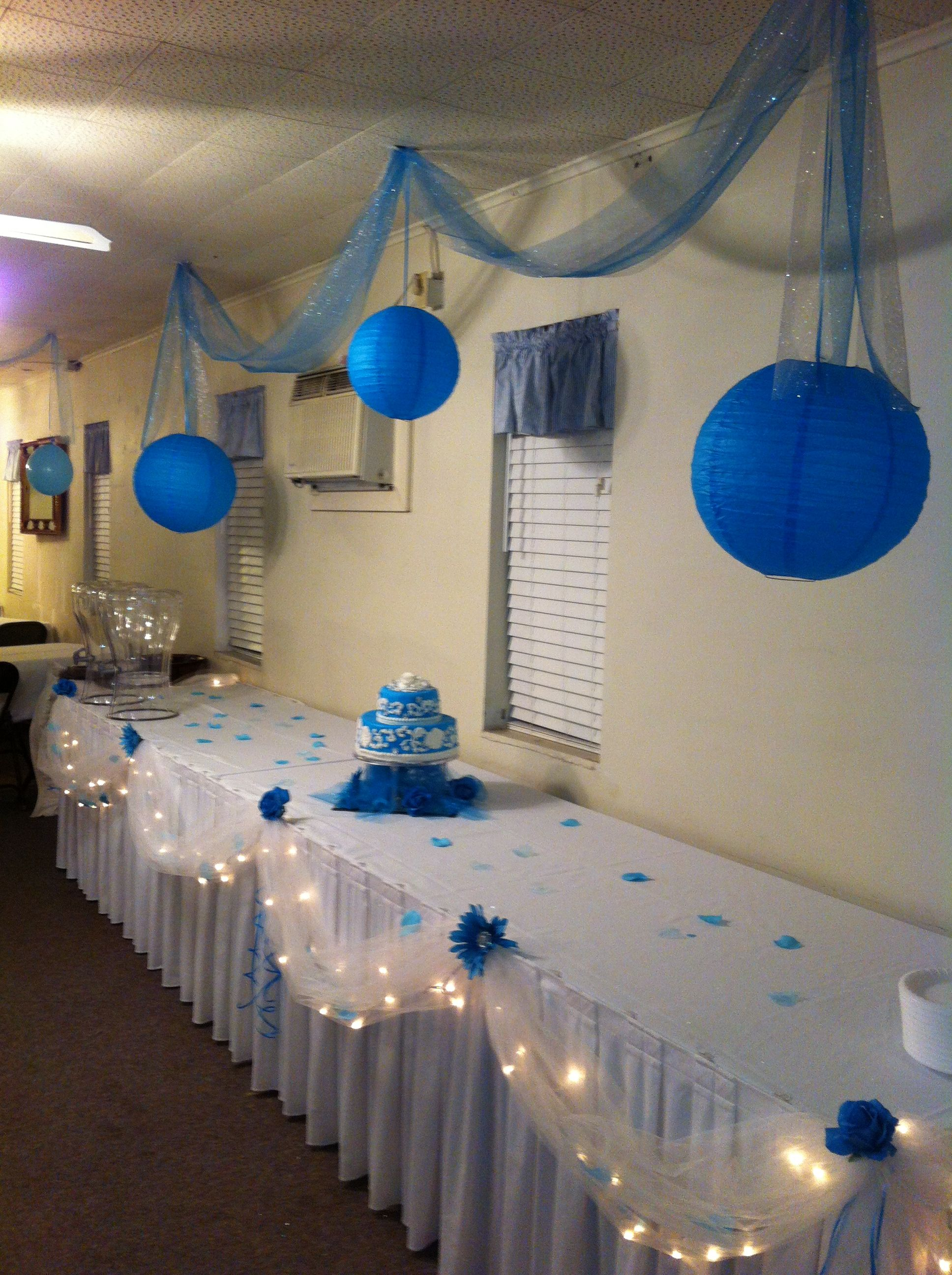 party decorations winter blue silver white desserts drinks table party ideas. Black Bedroom Furniture Sets. Home Design Ideas