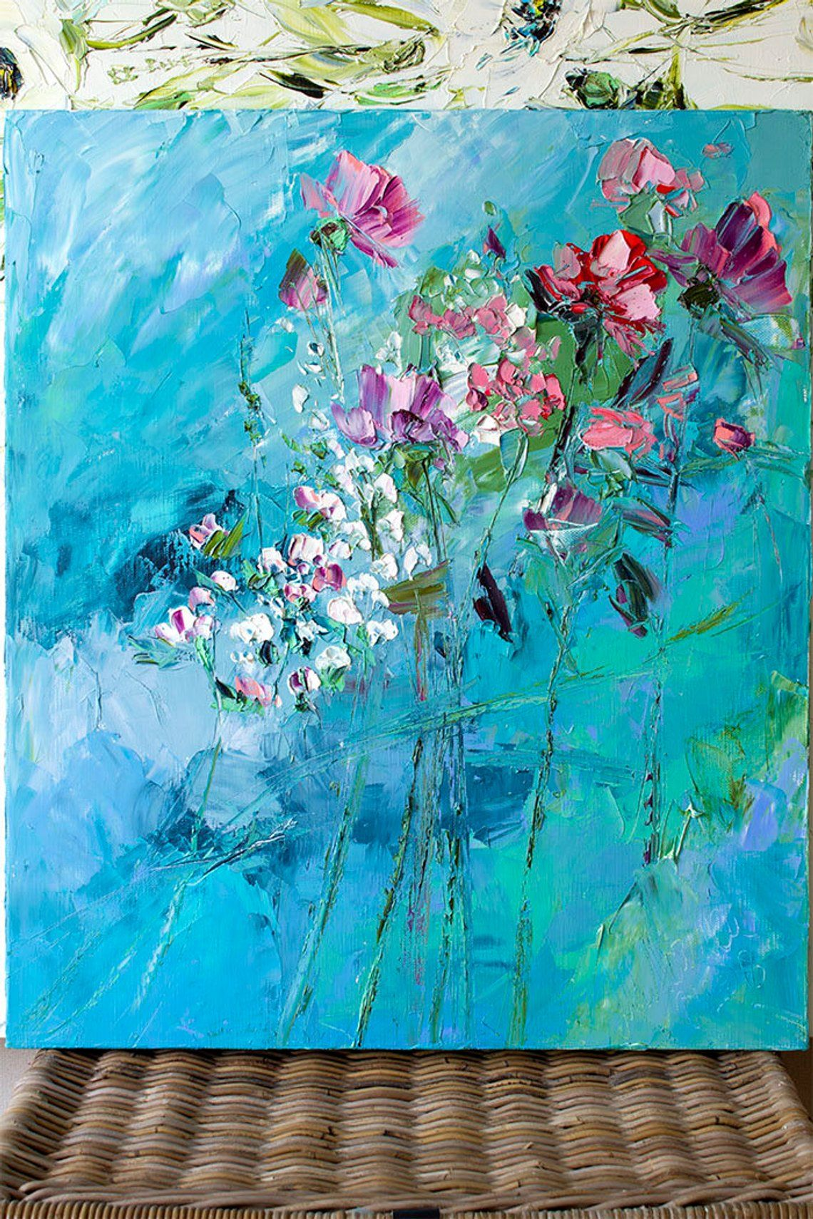 Emerald painting boho flower art abstract flower turquoise