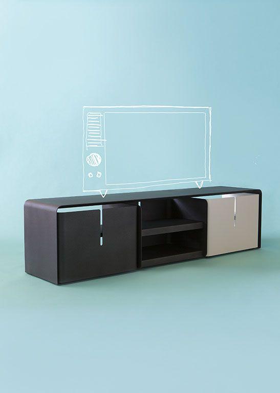 meuble télé, design luc jozancy, matiere grise. #blanc #anthracite ... - Meuble Design Metal