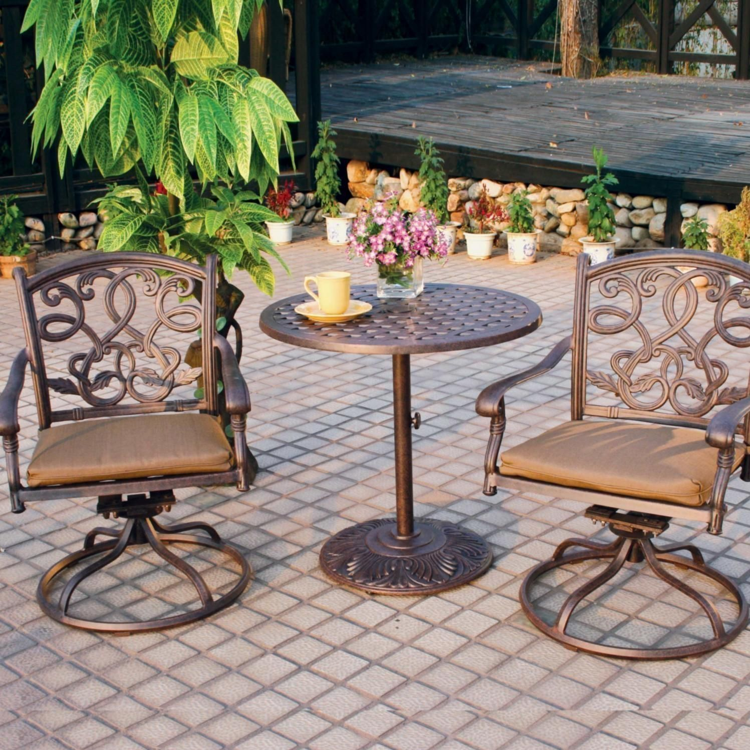 Superb Darlee Santa Monica 3 Piece Cast Aluminum Patio Bistro Set Interior Design Ideas Tzicisoteloinfo