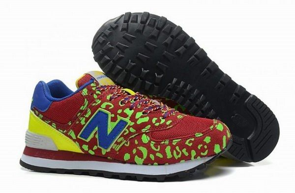 0e8f9fee7fe81 Joes New Balance 574 WL574 Leopard Print Red Green Blue Yellow Womens Shoes