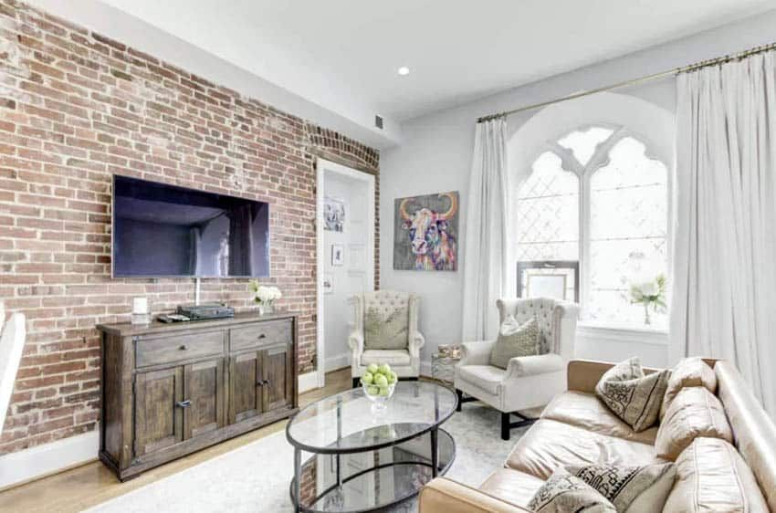 Exposed Brick Wall Living Room Design Ideas In 2020 Brick Wall Living Room Brick Living Room Exposed Brick Wall Living Room