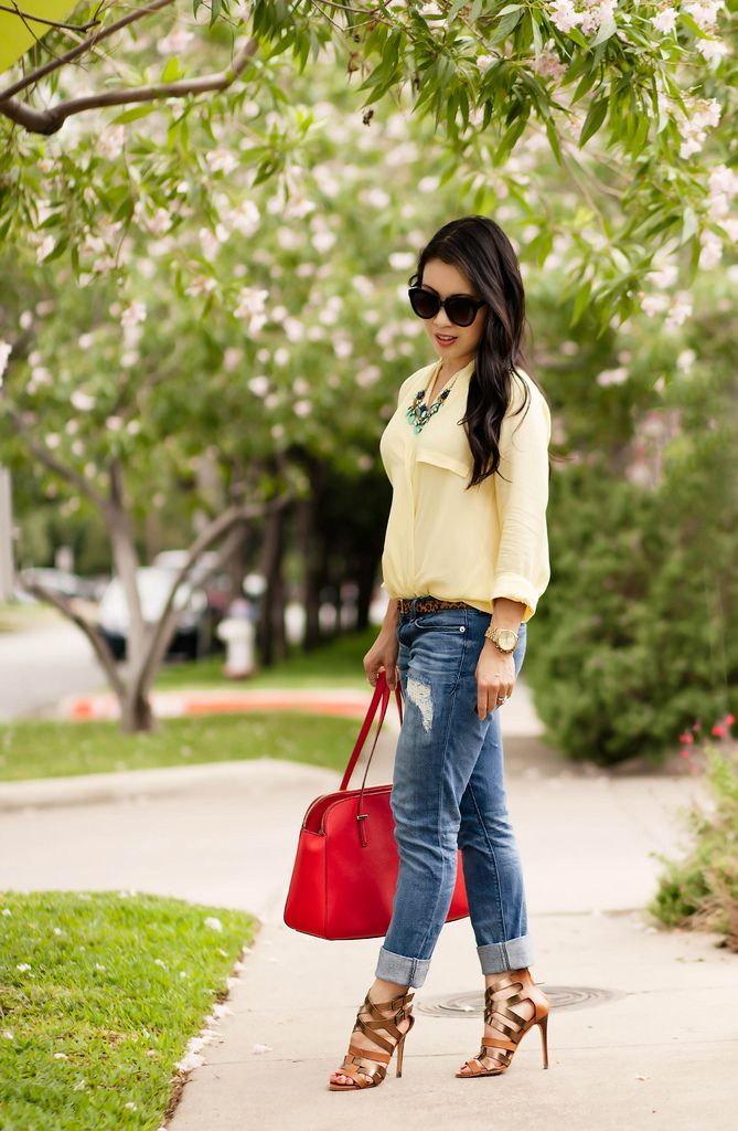 98e8c3d0fb52 Yellow Surplice Boyfriend Jeans    Color Brigade Link-Up! Top  Yellow  Surplice Top Belt  Target Bottom  Express Distressed Ankle Skinny Jeans  Shoes  Steve ...