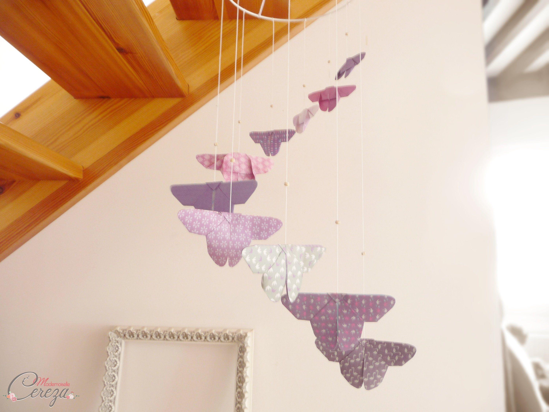 Déco chambre bébé fille garçon violet mobile papillons,mobile bébé