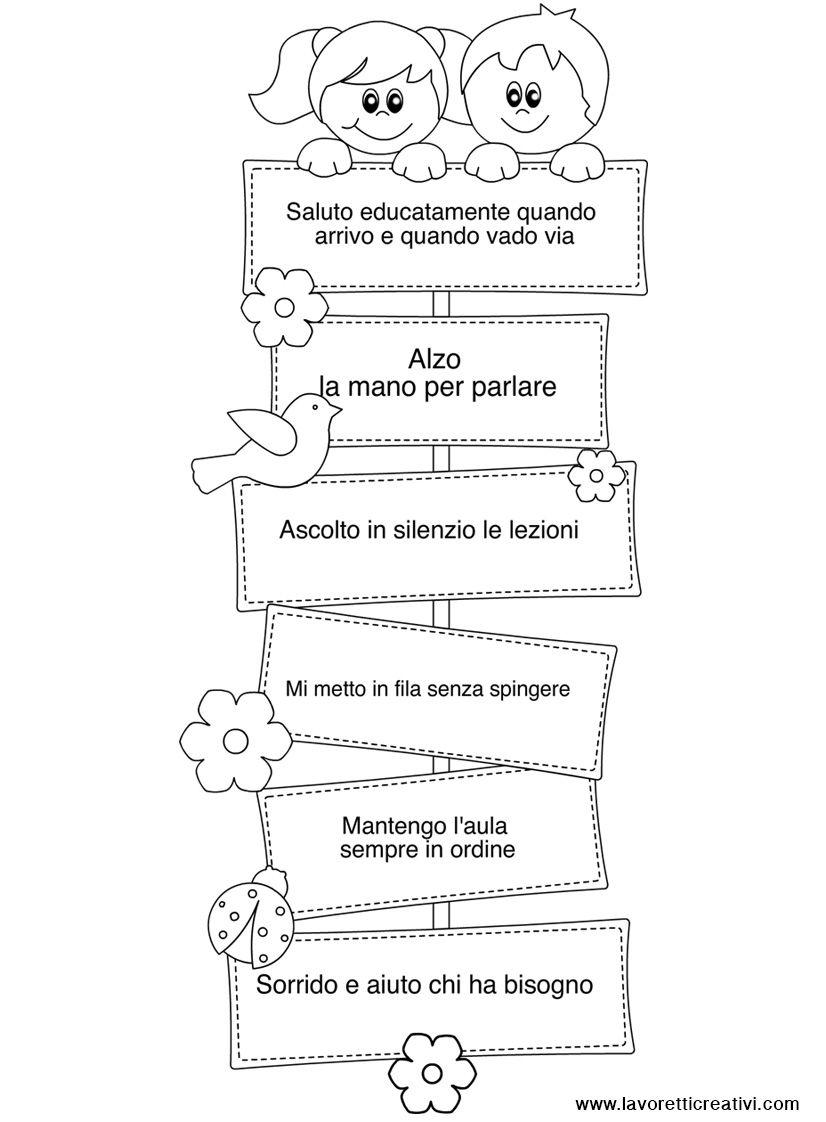 Cartellone con le regole della classe iskola pinterest for Cartelli porta aula scuola primaria