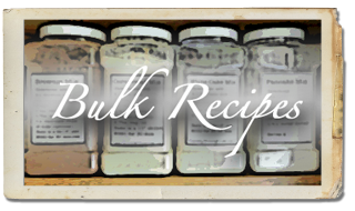 Bulk recipes:  white cake mix, brownie mix, pancake mix