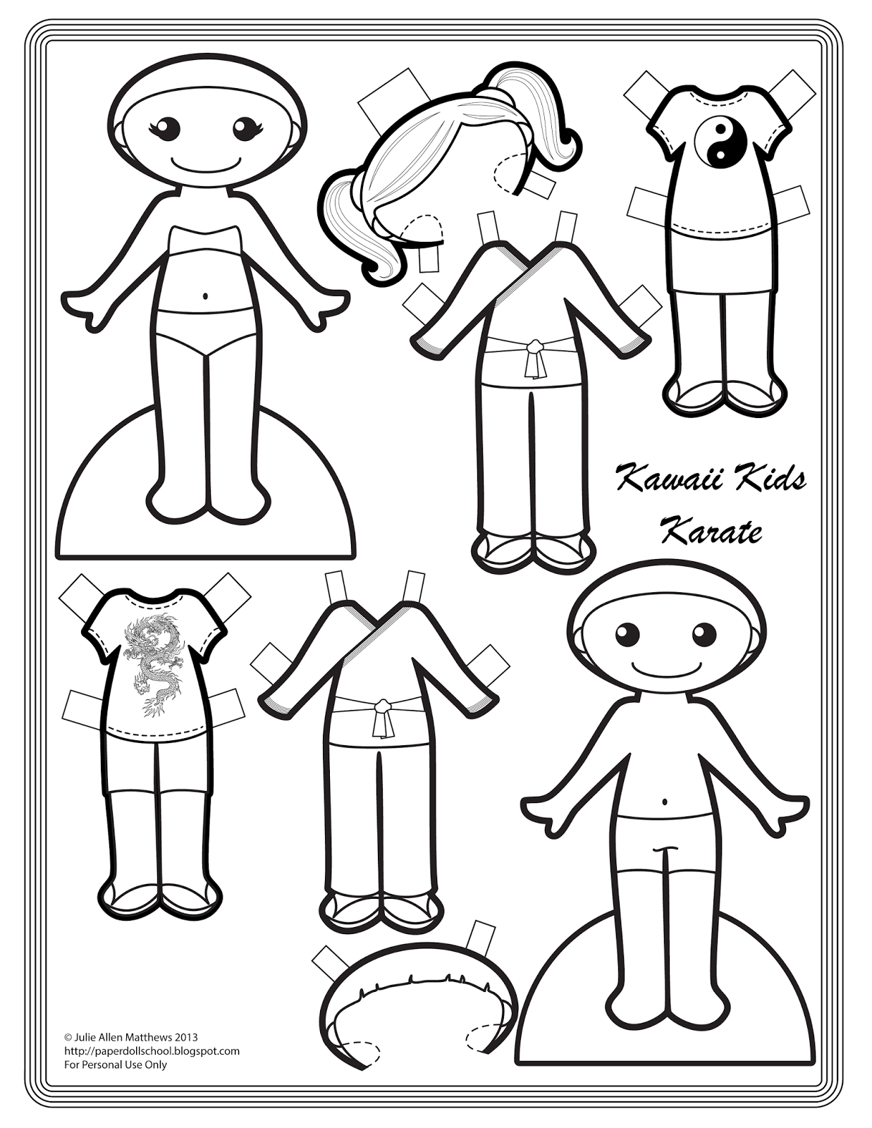 Black And White Kawaii Kids Karate Paper Doll To Color