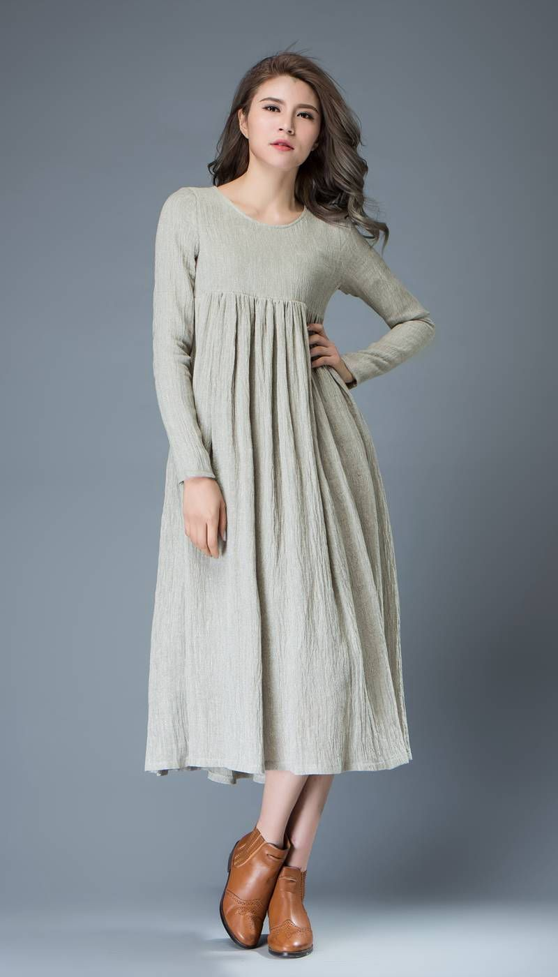 Casual linen dress light gray flared pleated midlength