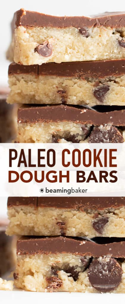Paleo Almond Flour Cookie Dough Bars (Edible, Vegan, Dairy-Free) - Beaming Baker