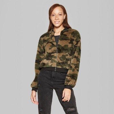 77bc2594cf7 Women s Camo Print Full Zip Faux Fur Jacket - Wild Fable Green Xxl Women s  Camo