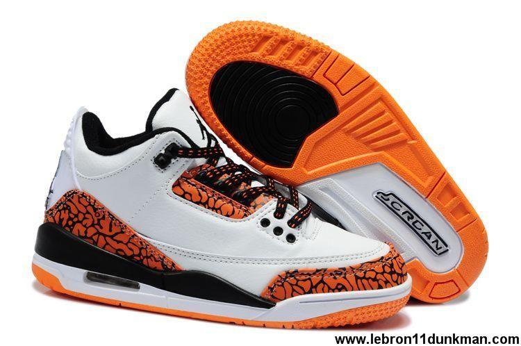 8a26dff55c02 Wholesale Discount White Black Orange Air Jordan 3 Kids Sports Shoes Store