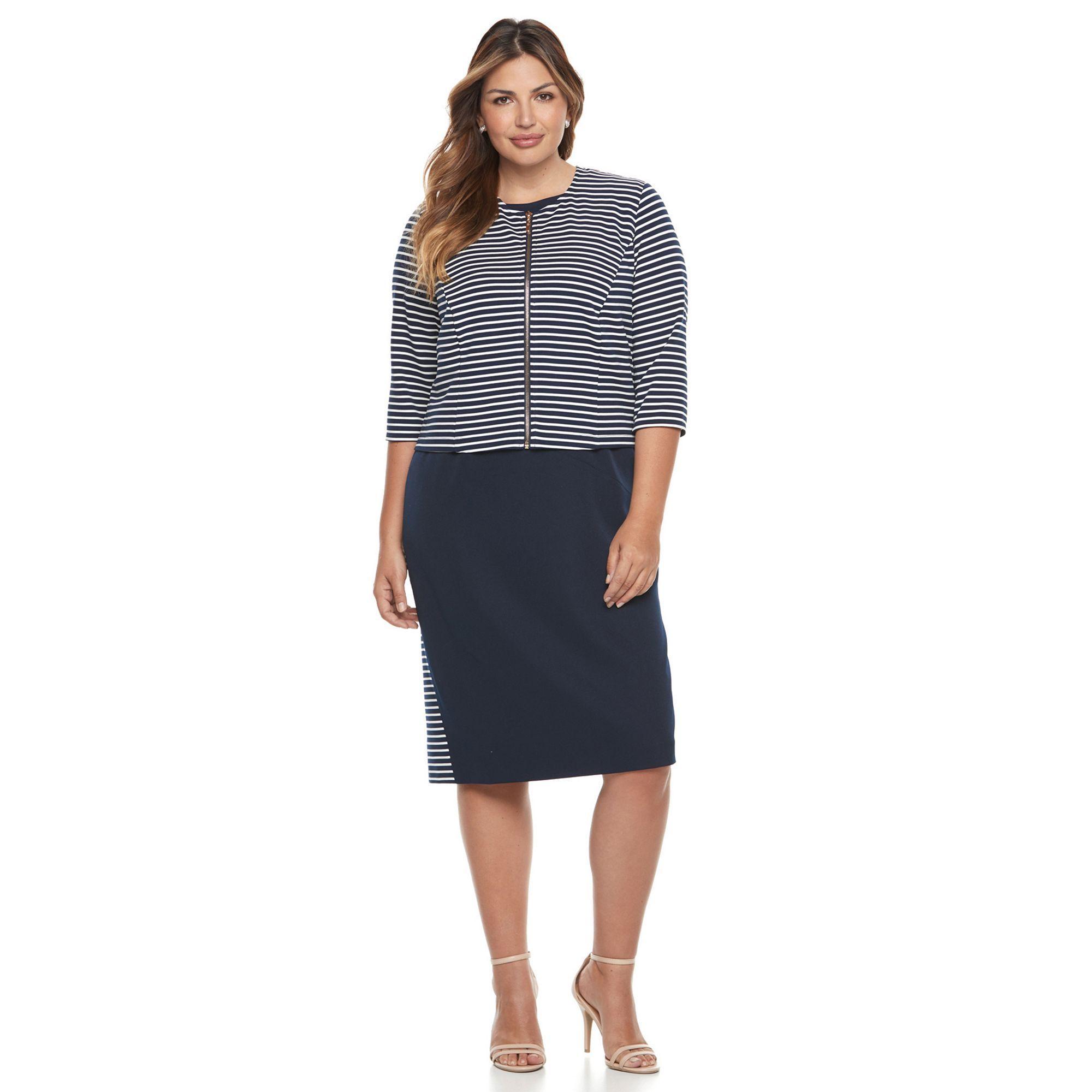 Maya brooke plus size maya brooke colorblock sheath dress u striped
