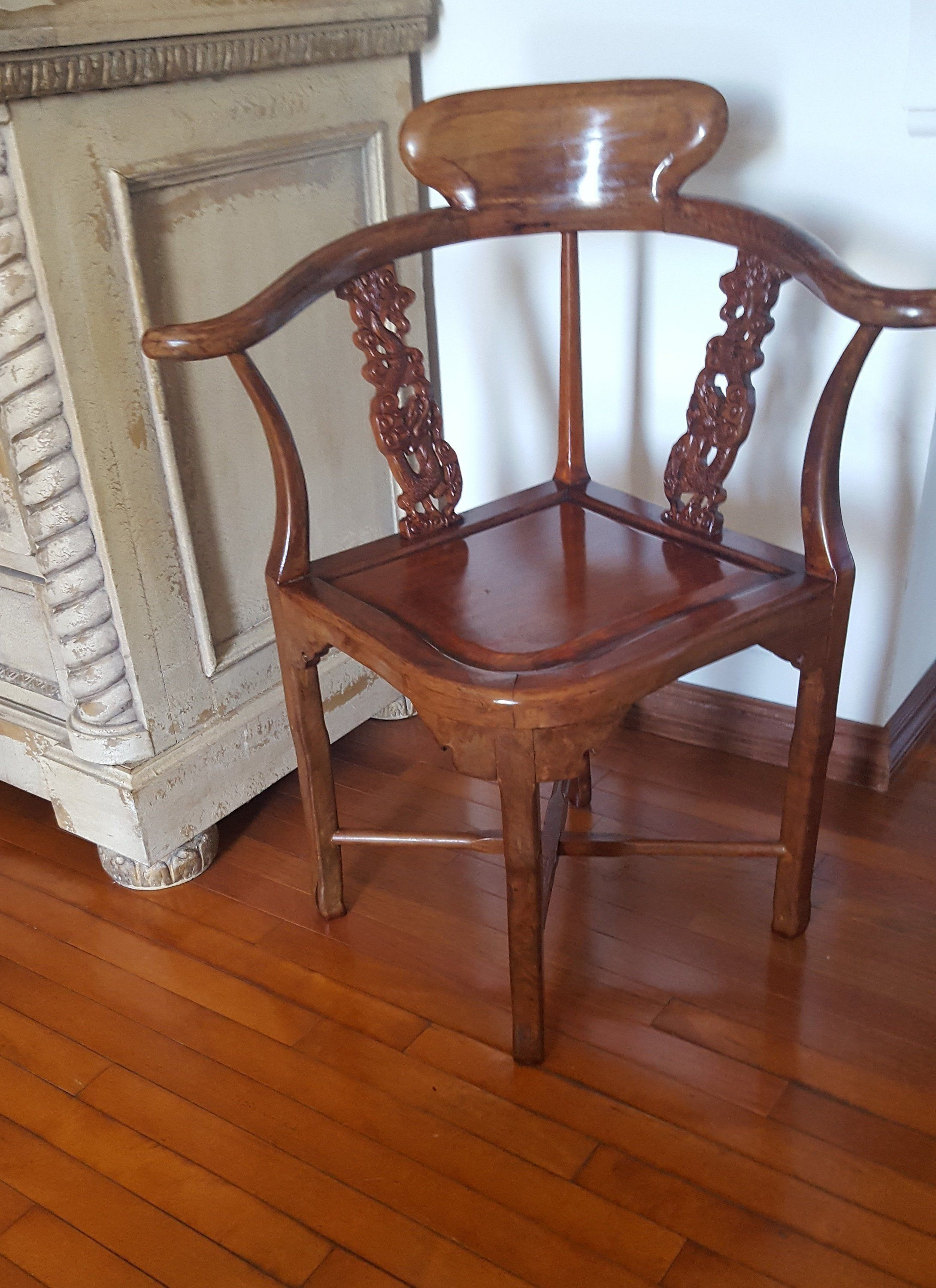 Antique Corner Chair Carved Rosewood Dragon Armchair Solid Wood 1940 S Telephone Chair Chinese Traditional Furnit Chair Artistic Furniture Asian Decor Bathroom