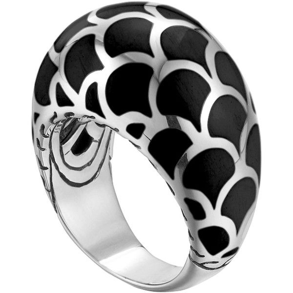 John Hardy Naga Silver Enamel Dome Ring with Black Enamel (545 AUD) ❤ liked on Polyvore featuring jewelry, rings, silver, band rings, enamel rings, silver jewellery, silver enamel rings and handcrafted silver rings