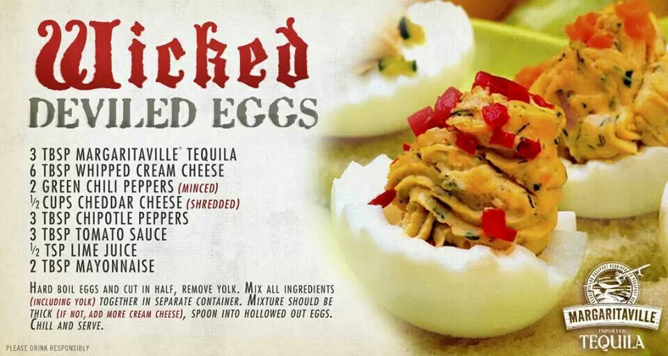 Wicked Deviled Eggs! Could be made without the alcohol to be more family friendly.