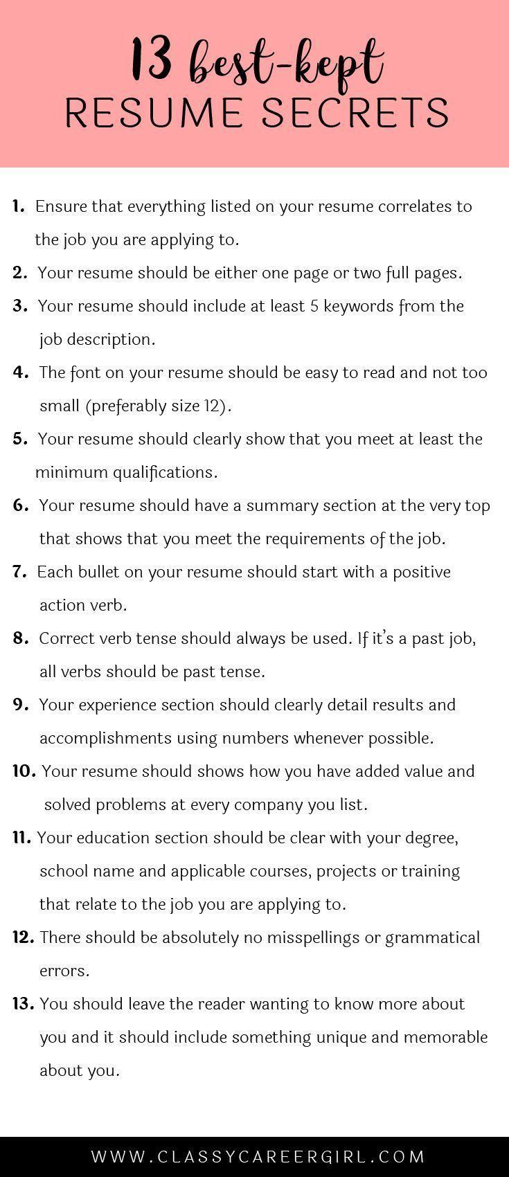the 13 best kept resume secrets pinterest startups tossed and