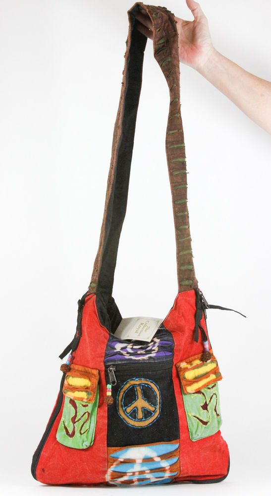Nepal Hippie Hobo Slash Cotton Large Expandable Tote Bag NEW