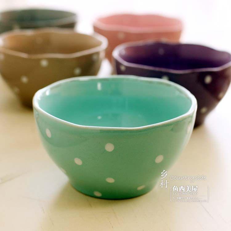 Ceramic bowls polkadot love love polka dots for Utensilios de cocina de ceramica