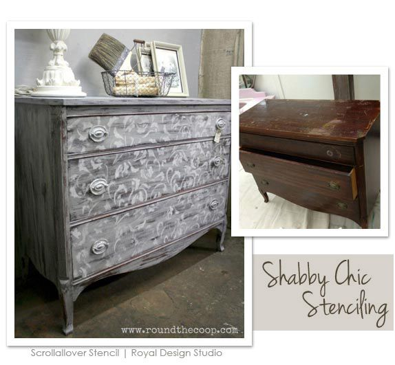 Superb Shabby Chic Furniture Stencil Project. Http://www.royaldesignstudio.com/