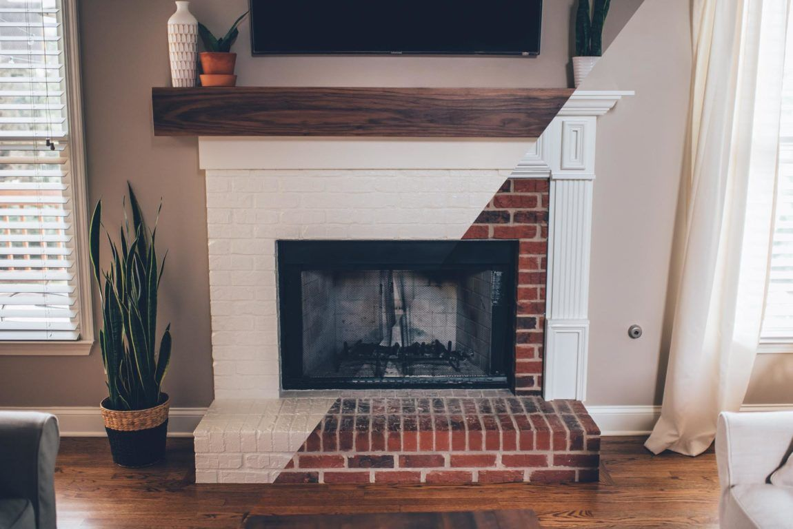 Modern White Brick Fireplace Walnut Mantel Diy White Brick