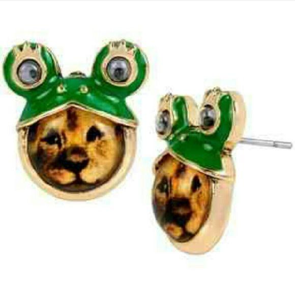 Lion/Frog Betsey Johnson Earrings Cute Betsey Johnson earrings! Betsey Johnson Jewelry Earrings