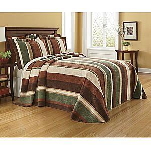 Ginnys Chenille Uptown Hunter Stripe Bedspread from Seventh Avenue ®   E364734